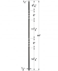 "LIH-HOLDBLTW44: 1/2"" Hollow Square Iron Double Twist Baluster Designed for use with LIH-HOL1BASK44 Dimensions"