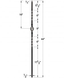 """LIH-KW1BASK44: 1/2"""" Hollow Square Iron Double Twist and Basket Baluster for Kneewall Dimensions"""