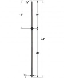 "LIH-KW1KNUC44: 1/2"" Hollow Square Iron Knuckle Baluster for Kneewall Dimensions"
