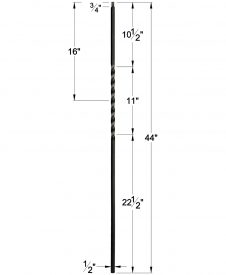 "LIH-KW1TW44: 1/2"" Hollow Square Iron Twist Baluster for Kneewall Dimensions"