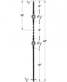"""LIH-KW2BASK44: 1/2"""" Hollow Square Iron Double Basket and Twist Baluster for Kneewall Dimensions"""