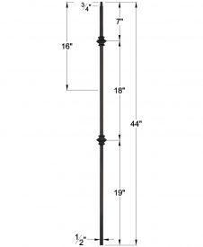 "LIH-KW2KNUC44: 1/2"" Hollow Square Iron Double Knuckle Baluster for Kneewall Dimensions"
