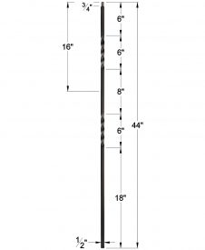 "LIH-KW2TW44: 1/2"" Hollow Square Iron Double Twist Baluster for Kneewall Dimensions"