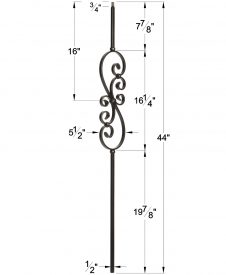 """LIH-KW50144: 1/2"""" Hollow Square Iron Scroll Baluster for Kneewall Dimensions"""