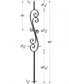 """LIH-KW60144: 1/2"""" Hollow Square Iron Scroll Kneewall Baluster for Kneewall Dimensions"""