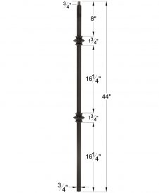 "LIH-MG2KNUC44: 3/4"" Hollow Square Iron Double Knuckle Baluster Dimensions"