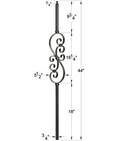 "LIH-MG50144: 3/4"" Hollow Square Iron Scroll Baluster Dimensions"