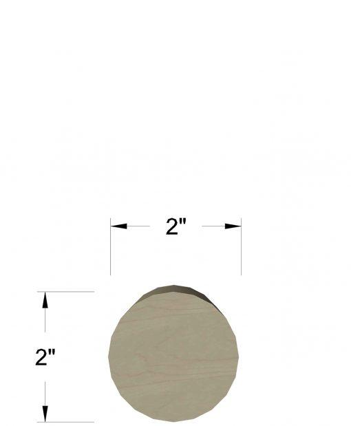 """LJ-6041: 2"""" Round Wall Rail Dimensions"""