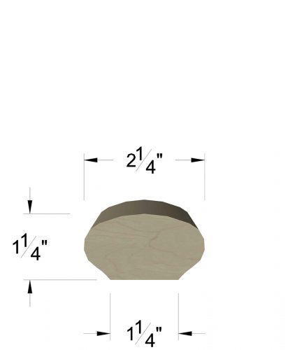 "LJ-6042: 2 1/4"" Oval Wall Rail with 1 1/4"" Flat Base Dimensions"