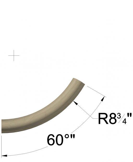 LJ-7006: 60° Starting Easing for LJ-6042 Wall Rail Dimensions