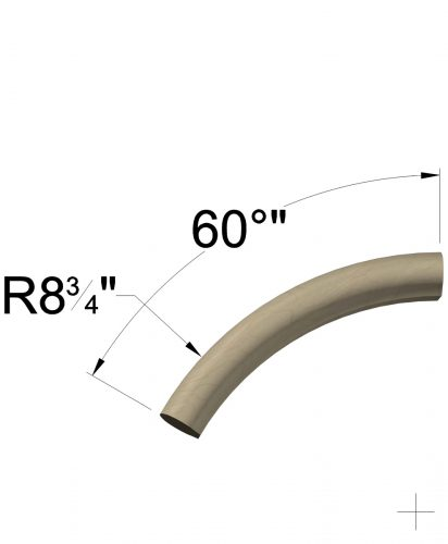 LJ-7007: 60° Over Easing for LJ-6042 Wall Rail Dimensions