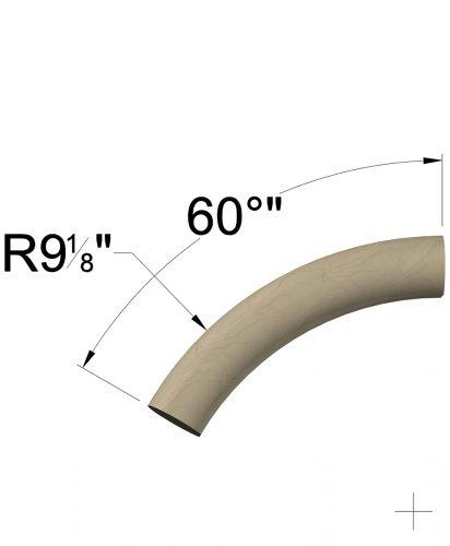 LJ-7025: 60° Over Easing for LJ-6040 Wall Rail Dimensions
