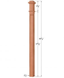 OP-4075-M4L-VG4: 3 1/2 Inch Mission 4 LH V-Grooved Box Newel Post Dimensions