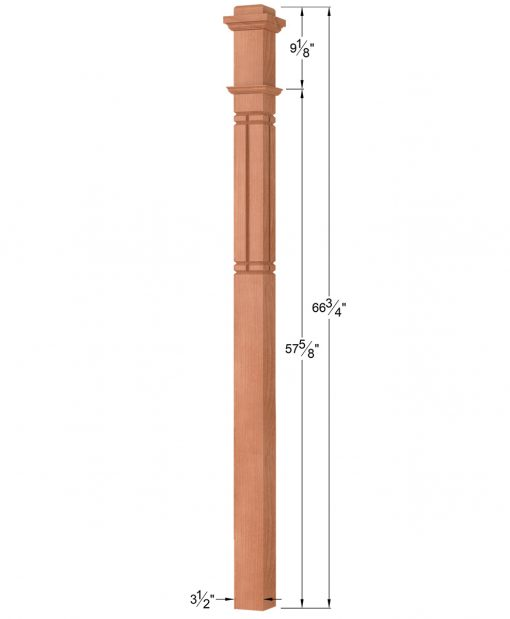 OP-4075-M6C-VG4: 3 1/2 Inch Mission 6 Centered V-Grooved Box Newel Post Dimensions