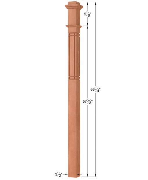 OP-4075-M9-VG4: 3 1/2 Inch Mission 9 V-Grooved Box Newel Post Dimensions