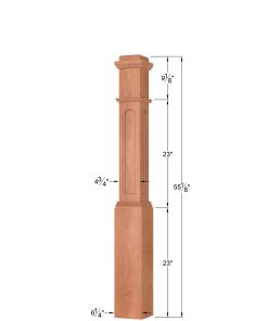 OP-4091-FP-RT: 6 1/4 Inch Flat Panel Round Top Box Newel Post Dimensions