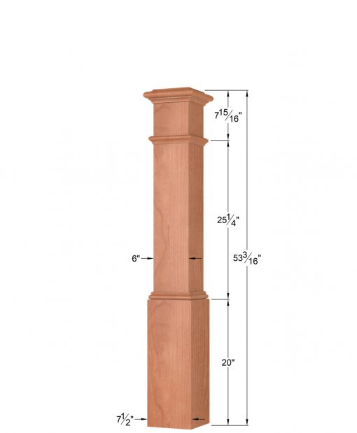 OP-4092: 7 1/2 Inch Box Newel Post Dimensions