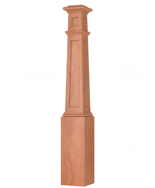OP-4092T-FP-3: 7 1/2 Inch Square Tapered Flat Panel Box Newel Post with Top Panel on 3 Sides