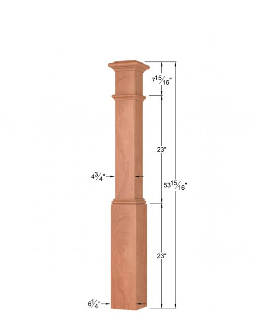 OP-4291: 6 1/4 Inch Box Newel Post Dimensions