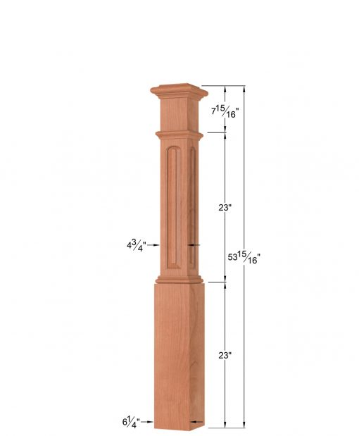 OP-4291-RP-ET: 6 1/4 Inch Eyebrow Top Raised Panel Box Newel Post Dimensions