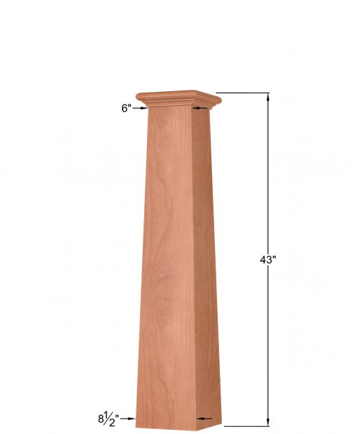 OP-4293T: 8 1/2 Inch Square Tapered Box Newel Post Dimensions