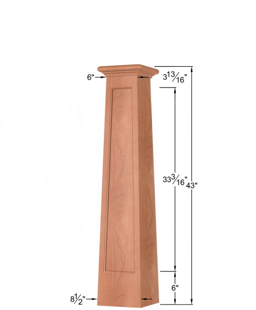 OP-4293T-FP-1LP: 8 1/2 Inch Square Tapered Long Flat Panel Front Side Only Box Newel Post Dimensions