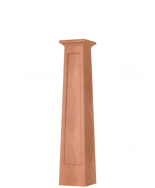 OP-4293T-FP-1LP: 8 1/2 Inch Square Tapered Long Flat Panel Front Side Only Box Newel Post