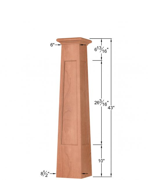 OP-4293T-FP: 8 1/2 Inch Square Tapered Flat Panel Box Newel Post Dimensions