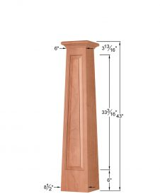 OP-4293T-RP-1LP: 8 1/2 Inch Square Tapered Long Raised Panel Front Side Only Box Newel Post Dimensions