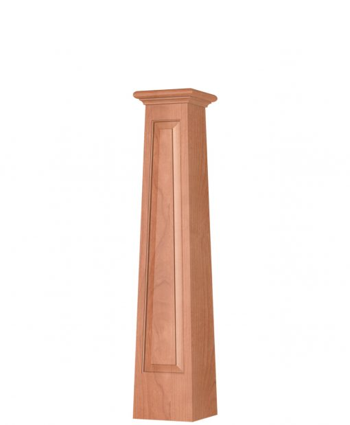 OP-4293T-RP-1LP: 8 1/2 Inch Square Tapered Long Raised Panel Front Side Only Box Newel Post