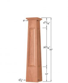 OP-4293T-RP: 8 1/2 Inch Square Tapered Raised Panel Box Newel Post Dimensions