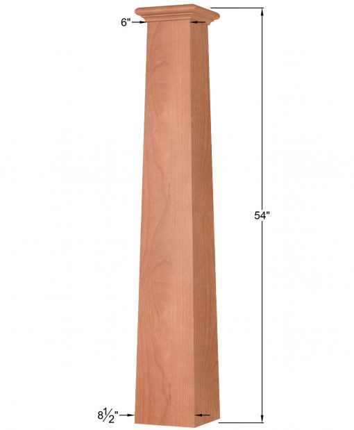 OP-4294T: 8 1/2 Inch Square Tapered Box Newel Post Dimensions