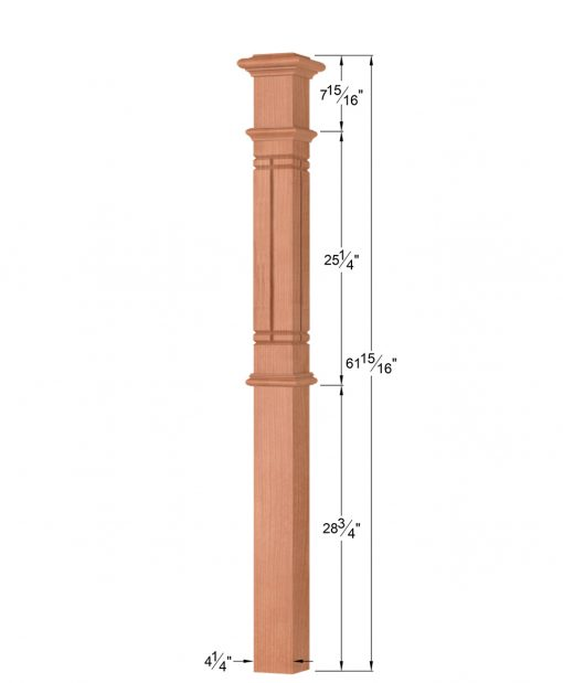 OP-4392-M6C-VG4: 4 1/4 Inch Mission 6 Centered V-Grooved Box Newel Post Dimensions