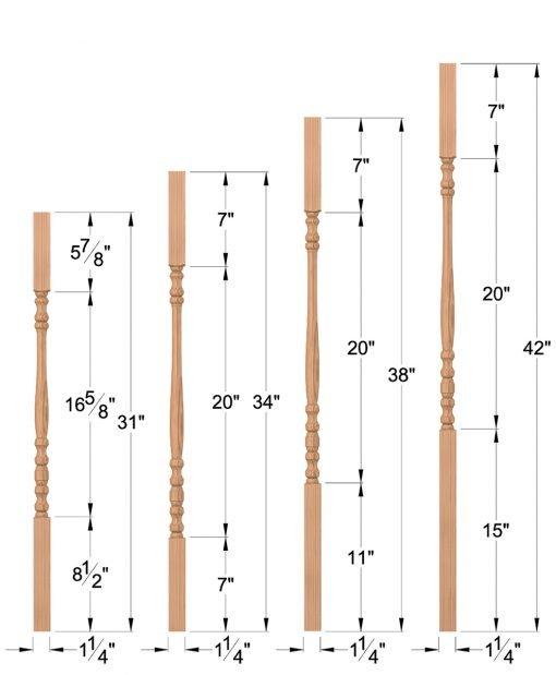 """LJ-5004: 1 1/4"""" Block-Top Baluster Dimensions"""