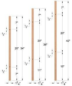 "LJ-5060V: 1 1/4"" Square V-Groove Baluster Dimensions"