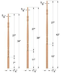 "LJ-5200: 1 1/4"" Taper-Top Baluster Dimensions"