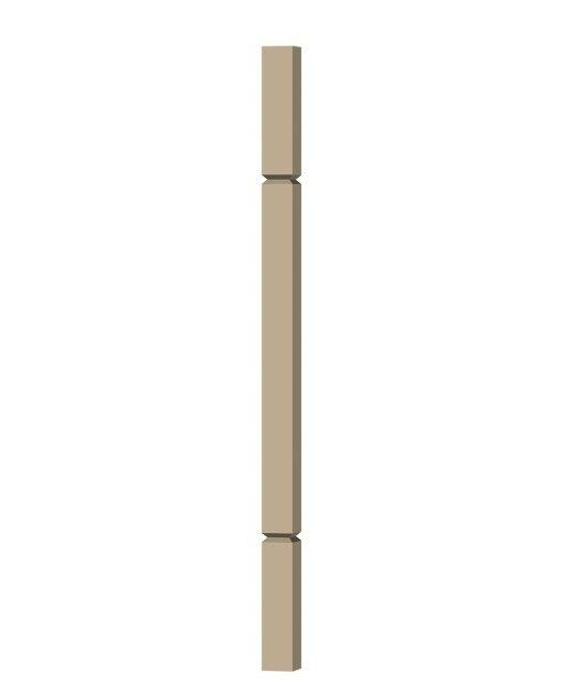"""LJ-5360V: 1 3/4"""" Square V-Groove Baluster (3D CAD Rendering)"""