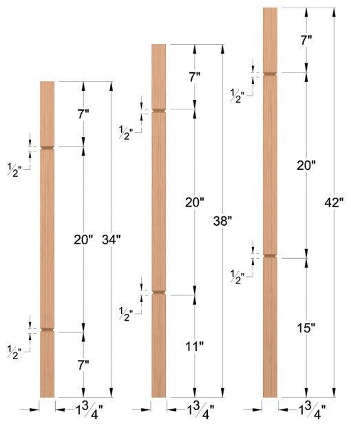 "LJ-5360V: 1 3/4"" Square V-Groove Baluster Dimensions"