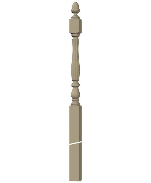 "LJB-3958: 3 1/4"" Beaded Winder Newel Post 3D CAD Rendering"