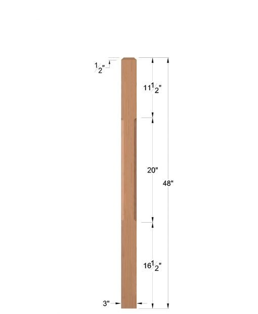 "LJC-4110: 3"" Chamfered Universal Newel Post Dimensions"
