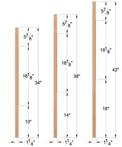 "LJC-5060: 1 1/4"" Square Chamfered Baluster Dimensions"