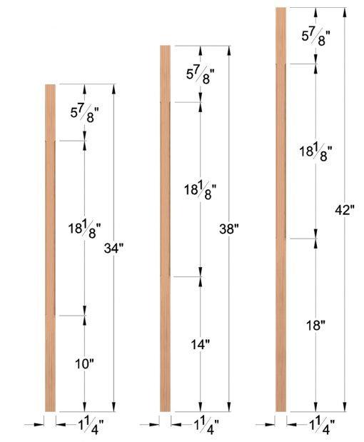 "LJC-5060: 1 1/4"" Square Chamfered Baluster Dimensions"