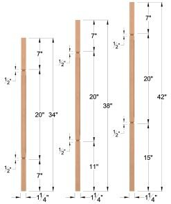 "LJC-5060V: 1 1/4"" Square Chamfered and V-Groove Baluster Dimensions"