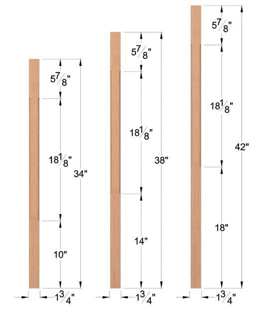 "LJC-5360: 1 3/4"" Square Chamfered Baluster Dimensions"