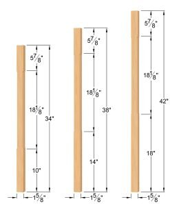 "LJC-5360-H: 1 5/8"" Chamfered Square Hemlock Baluster Dimensions"