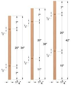 "LJC-5360V: 1 3/4"" Square Chamfered and V-Groove Baluster Dimensions"