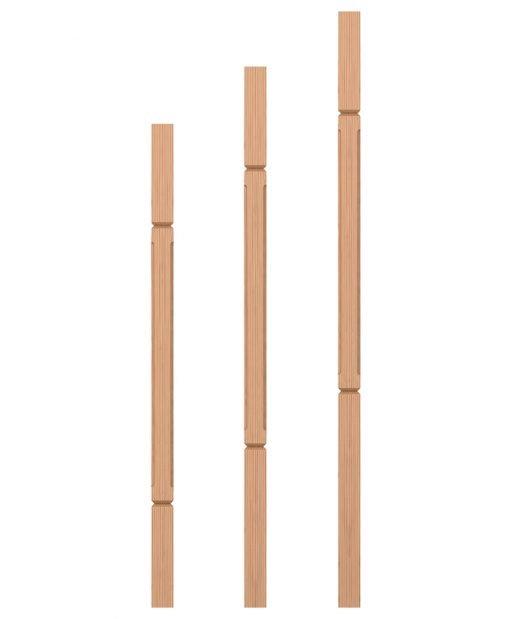 "LJC-5360V: 1 3/4"" Square Chamfered and V-Groove Baluster"