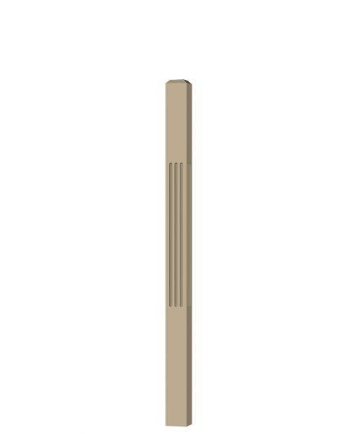 "LJF-4110: 3"" Fluted Universal Newel Post (3D CAD Rendering)"