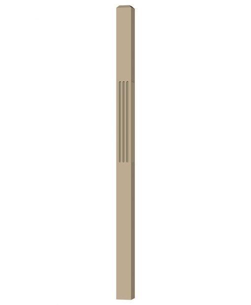 "LJF-4111: 3"" Fluted Universal Newel Post (3D CAD Rendering)"