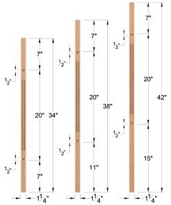 "LJF-5060V: 1 1/4"" Square Fluted and V-Groove Baluster Dimensions"